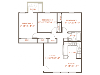 Holly floor plan, 3 bedrooms 2 baths, 1,022 sqaure feet at Britain Way Apartments