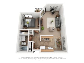 641 sq.ft. One Bed One Bath