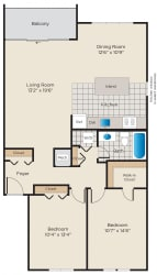 Floor Plan 2 Bedroom, 1 Bath - Renovated