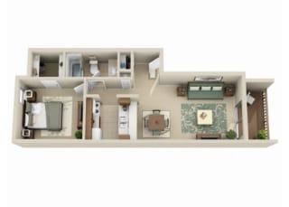 1 bedroom 1 bathroom at Claremont Villas Apartments in Tucson, AZ