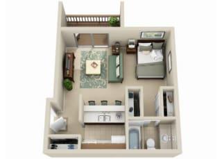Studio floorplan at Claremont Villas Apartments in Tucson, AZ