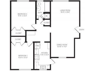 2 bedroom floor plan | Chase Knolls Garden Apartments Sherman Oaks CA