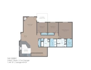 Three bedroom floor plan layout