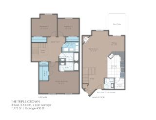 Three bedroom townhome floor plan layout