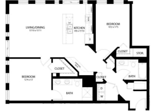 Floor Plan 2 Bedroom A