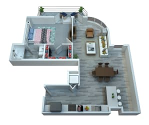 The Stewart One Bedroom Floor Plan - Elton