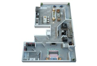 The Stewart One Bedroom Floor Plan - Isley