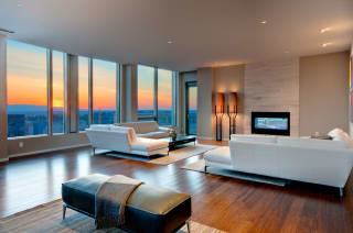 Spacious Living Room at The Bravern in Bellevue, WA