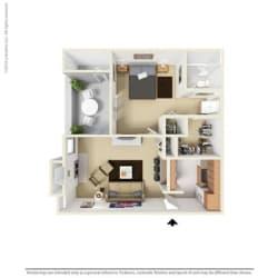 A1 - 1 bedroom 1 bath Floor Plan at Park at Caldera, Texas