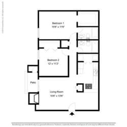 B2 - 2 bedroom 2 bath Floor Plan at Park at Caldera, Texas