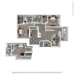 3 Bed 3 Bath The Durham Floor Plan at Orion MainStreet, Ann Arbor, Michigan