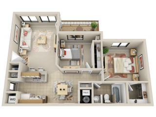 Floor Plan 2 Bed 1 Bath