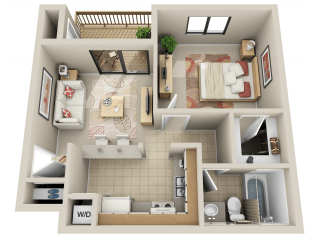 Floor Plan Junior 1 Bedroom
