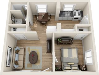 Floor Plan 1 bed 1 bath, opens a dialog
