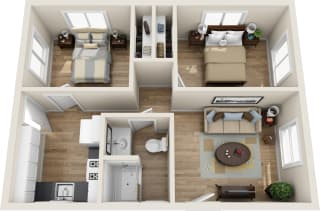 Floor Plan 2 bed 1 bath, opens a dialog