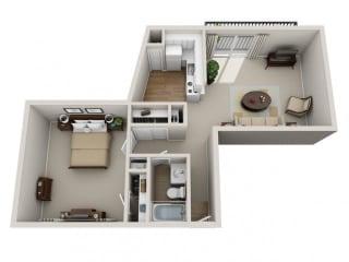 Floor Plan 1 Bed 1 Bath, opens a dialog