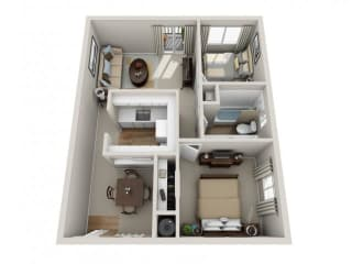 Floor Plan 2 Bed 1 Bath, opens a dialog
