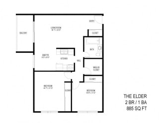 2 Bed 1 Bath The Elder Floor Plan at Eagan Place, Minnesota