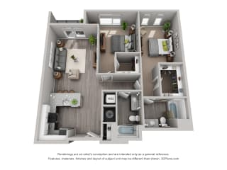 Meridian Floor Plan is a 2 Bed, 2 Bath Option at 1,394 Square Feet