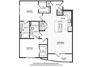 B2(1) Floor Plan at Windsor Old Fourth Ward, Atlanta, Georgia