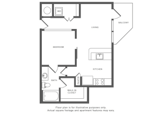 1 Bed 1 Bath A3 Floor Plan at Windsor by the Galleria, Dallas, Texas