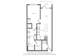 1 Bed 1 Bath A5 Floor Plan at Windsor by the Galleria, Texas