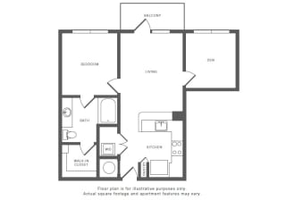 1 Bed 1 Bath A6S Floor Plan at Windsor by the Galleria, Texas, 75240