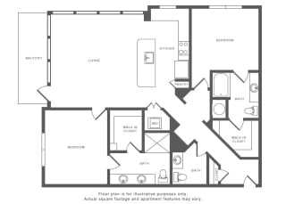 2 Bed 2 Bath B5 Floor Plan at Windsor by the Galleria, Dallas, TX, 75240