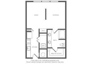 0 Bed 1 Bath S2 Studio Floor Plan at Windsor by the Galleria, Dallas, TX, 75240