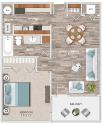 Floor Plan One Bedroom Balcony