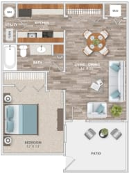 Floor Plan One Bedroom Patio