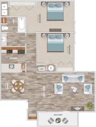 Floor Plan Two Bedroom Balcony