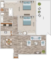 Floor Plan Two Bedroom Patio
