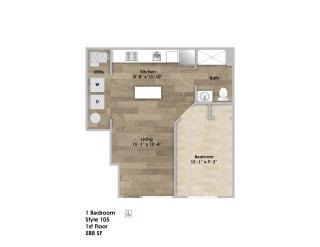 Floor Plan 1 Bedroom - First Floor - ADA Modified Style 105