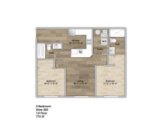 Floor Plan 2 Bedroom - First Floor Style 203