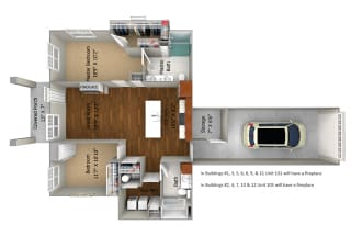 2 Bedroom/2 Bath (1096 sf) Floor Plan at Cedar Place Apartments, Wisconsin