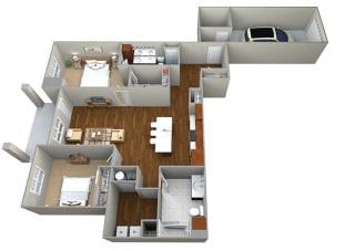 2 Bedroom/2 Bath (1258 sf) Floor Plan at Cedar Place Apartments, Cedarburg, WI, 53012