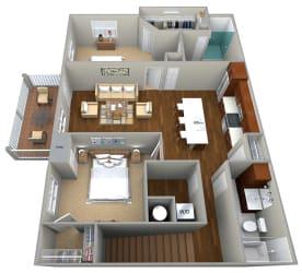 2 Bedroom/2 Bath (1158 sf) Floor Plan at Cedar Place Apartments, Cedarburg, 53012