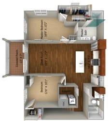 2 Bedroom/2 Bath (1158 sf) Floor Plan at Cedar Place Apartments, Cedarburg, Wisconsin