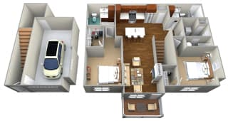 2 Bedroom/2 Bath (1188 sf) Floor Plan at Cedar Place Apartments, Cedarburg, WI, 53012