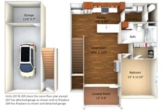 Apartment 207 and 209 Floor Plan at Cedar Place Apartments, Cedarburg, 53012