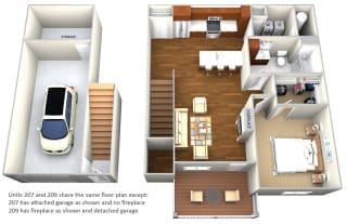 Apartment 207 and 209 1 Bedroom 1 Bath Floor Plan at Cedar Place Apartments, Cedarburg, WI, 53012