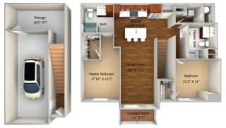 2 Bedroom/2 Bath (1237 sf) Floor Plan at Cedar Place Apartments, Cedarburg, Wisconsin
