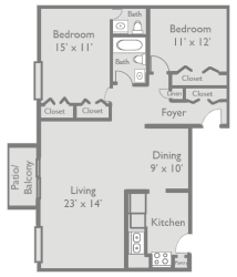 2 Bed 1.5 Bath B3 Floor Plan at Axis at Westmont, Westmont, Illinois