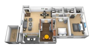 2 bedroom 2 bathroom floor plan at Ivy Hall Apartments in Towson MD