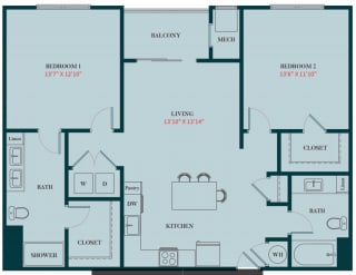 B2 - 2 Bedrooms 2 Baths Apartment Floor Plan Design - 1161 sq. ft. - Apartments in Des Plaines