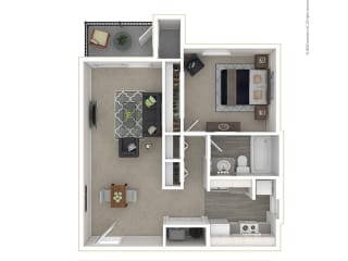 Clover Creek - Floor PLan - 1Bedroom