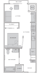 West- S1 Studio 472 Sqft Floor Plan at Union Heights, Washington