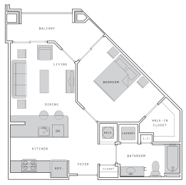 West- A1 One Bed 633 Sqft Floor Plan at Union Heights, Washington, DC
