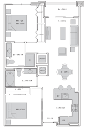 West- B2 Two Bed 876 Sqft Floor Plan at Union Heights, Washington, 20002